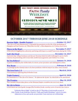 Orthodox Movie Night 2017-2018 Schedule